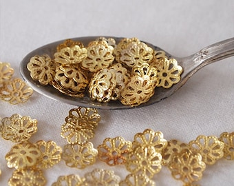 50 Metal Bead Caps Scalloped Edge Light Weight Gold Tone Size 9mm