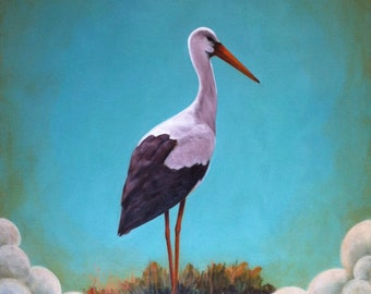 Original, Oil Painting, Acrylic Painting, Panel, Stork Dream