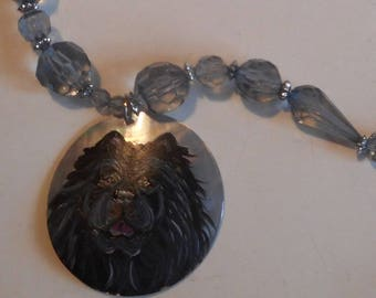 Black Chow Chow Dog Beaded Necklace Hand Painted Pendant