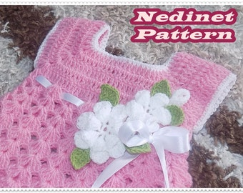 Crochet baby dress pattern, crochet baby girl dress pattern, crochet flower,  0-4 years sizes dress pattern, How to make baby dress