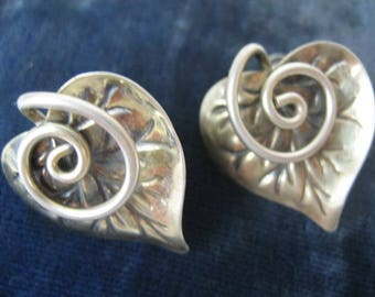 Sterling Silver Heart Shaped Leaf Earrings, Mid-Century Earrings, Silver Leaves with Curling Tendril, Screw Back