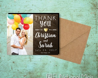 Charming Rustic Thank You Photo Magnets, wedding favors, gold heart, gold theme, rustic wedding, wedding thank you, party magnet + Envelopes