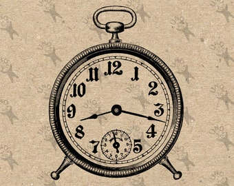 Vintage image Alarm Clock Instant Download printable Vintage picture clipart digital graphic scrapbooking, burlap,stickers, decor etc 300dpi