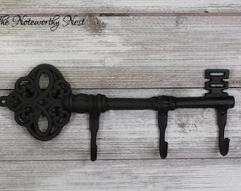 CLEARANCE Large key wall hook // Cast Iron Key // Cast Iron Hook // Coat hook // large hook // skeleton key hook // black key hook