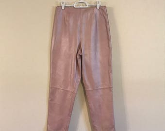 Vintage Pearl Pink High Waisted Leather Pants