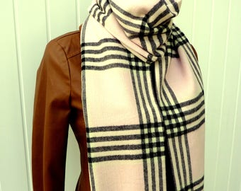 Blanket Scarf, Plaid Blanket Scarf, Plaid Scarf, Infinity Scarf, Fall Fashion, Large Scarf Fringe, Plaid Cotton Scarf, Pink And Black