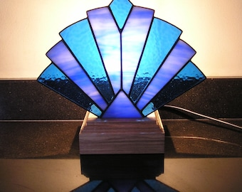 Deco Style Stained Glass Fan Lamp / Night Light, Handmade in England