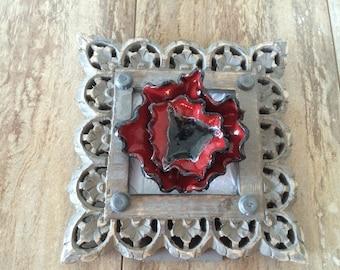 3D handmade pottery red flower in gray frame