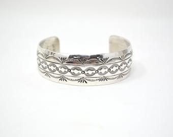 Vintage Native American Signed Hand Stamped Sterling Silver Cuff Bracelet - 606714589