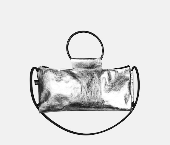 Small Silver Handbag from Jacron Evening Bag Crossover Bag Silver Clutch with Ring Strap