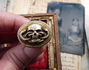 Antique Victorian Memento Mori Skull Ring, Victorian Renaissance Revival Talisman, Transfiguration, offered by RusticGypsyCreations