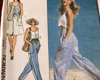 Vintage Style 1750 Misses Sleeveless Top, Shorts and Pants Pattern, Uncut, Size 6-16
