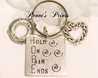 Hand stamped Hold On Pain Ends HOPE necklace