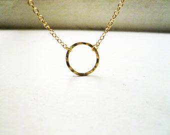 Hammered Gold Circle Necklace in 14K Gold Filled - Sweet and Simple Dainty Gold Circle Eternity Necklace