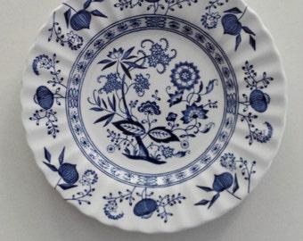 Enchanting Vintage Blue Floral Nordic Meakin Dessert Plate Dishes Ironstone