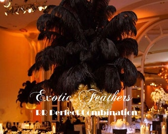 Black Ostrich Feathers. 13 to 16 inch Drab Feather Plumes 1-100 pcs. option. USA SELLER of Feather Centerpieces, Wholesale Wedding Feathers