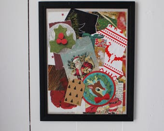 Framed artwork made from recycled materials - Christmas decoration or hostess gift idea