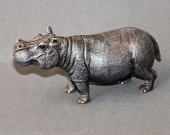 "Hippopotamus Bronze ""Hippo Small"" Figurine Statue Sculpture Art / Limited Edition / Signed & Numbered"