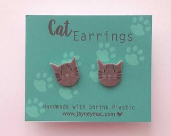 Tabby Cat Shrink Plastic Earrings