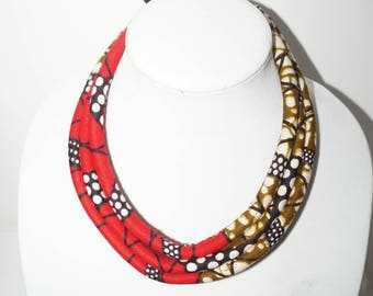 Mamie-King African Print Rope Necklace/ Gift for her/ Fabric covered necklace/ Shower gifts/ Statement Piece/ Bold Jewelry