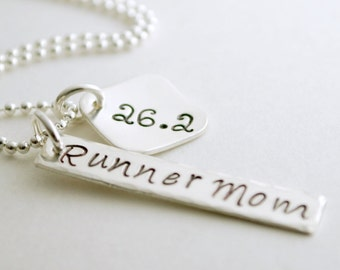 Runner Mom Marathon Hand Stamped Necklace Run Jewelry for Women Sterling Silver