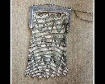 Art Deco Antique Whiting and Davis enamel mesh metal purse bag