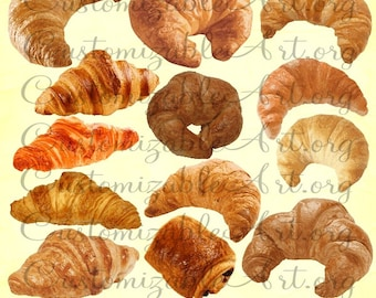 Croissant Clipart Digital Croissant Clip Art Breakfast French Pastries Chocolate Croissant Breakfast Clipart Images Graphics Pastry Clipart