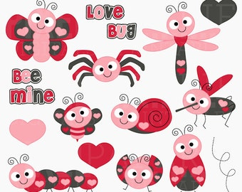 valentine's day clipart digital clip art hearts bugs insects - Love Bugs Digital Clipart - BUY 2 GET 2 FREE