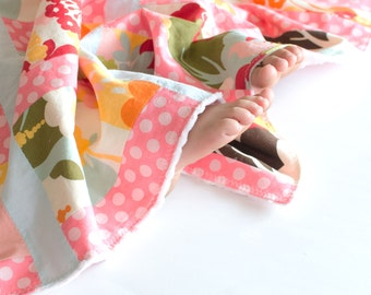 Patchwork Baby Girl Blanket, Oh Deer by Momo Patchwork Blanket with Minky