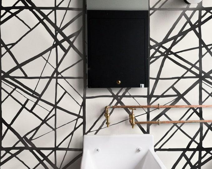 Stripe wallpaper, removable wallpaper, Striped Wallpaper, wallpaper, vintage, wall decor, Harlequin Sumi, black wallpaper, Channel Wearstler