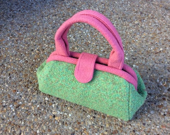 Pink and Green Boucle Doctor Bag