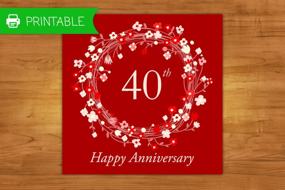 free 40th anniversary cards