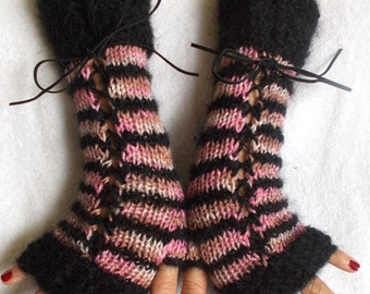 Fingerless Corset Gloves Arm Warmers in Black Pink Light Brown Tones