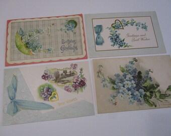 Antique German Postcard Lot-Pretty Blue Florals
