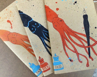 Writing Journal, Gift for Writer, Hand Painted Moleskine, Squid, Moleskine Journal, Cephalopod, Large, Notebooks Journal, Moleskine Notebook