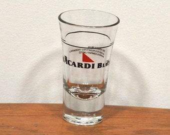 Vintage 1980's Bacardi Black Rum Liquor Drinking Shot Glass