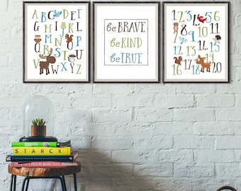 WOODLAND NURSERY DECOR - Forest Nursery art, Forest Animals nursery, Woodland Animals Nursery, Playroom wall art, Be Brave, boys nursery