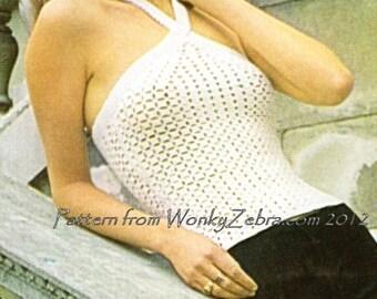 Crochet Dress Pattern Vintage Halter WonkyZebra PDF 379  WonkyZebra