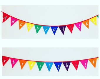 Upper Case Alphabet Rainbow Bunting Banner Flags