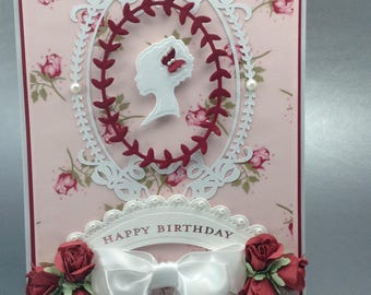 Happy Birthday Card, Mother's Day Card, Handmade Card, Multiple Ocasions Card,Silhouette Card