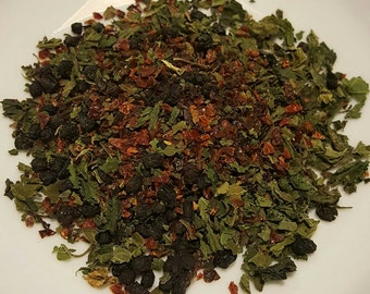 VitaBoost - Vitamin Rich Tea, Organic Herbal Tea, Tea for Colds, Tea for Immune System, Nettle, Rosehips, Elderberry, Yarrow, Cinnamon