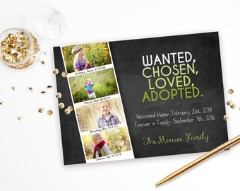 Wanted Chosen Loved Adopted - Adoption Announcement Chalkboard Photo Announcement
