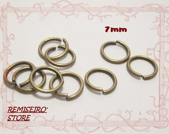 50 bronze 7 mm open jump rings