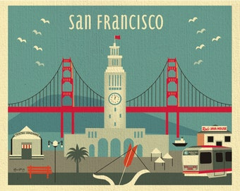 San Francisco Art Print, San Francisco Skyline Wall Art, Decor, Ferry Building Print, SF Art Gift, Loose Petals City Print, style-E8-O-SF13