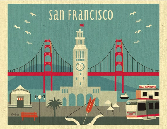 San Francisco Art Print San Francisco Skyline Wall Art