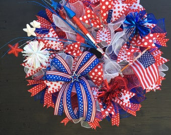 4th of july wreath/patriotic wreath/4th of july decor/red white and blue wreath/summer wreath/USA wreath/July 4th wreath/memorial day wreath