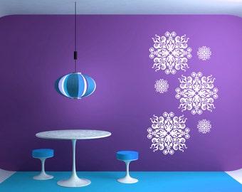 Arabesque Tile, Retro Decor, Swirl Decal, Medallion Wall Art, Set of 6, Home Scroll, Vinyl Decal, Wall Art, Ceiling Medallion, Office Decor