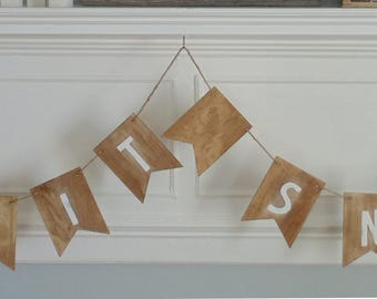 let it snow banner - let it snow bunting - let it snow garland - mantle decoration - fireplace decoration - wood bunting - holiday garland