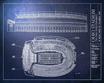 Ohio stadium etsy ohio stadium blueprint ohio state university vintage football poster malvernweather Images