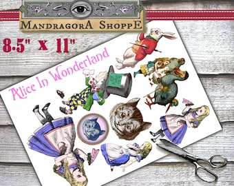 Alice in Wonderland printable digital collage sheet instant digital download scrapbooking decoupage card making clip art